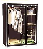 Portable Foldable Clothes Closet Wardrobe Non-woven Fabric Multipurpose Storage Organizer Cupboard Black Almirah By Krishyam