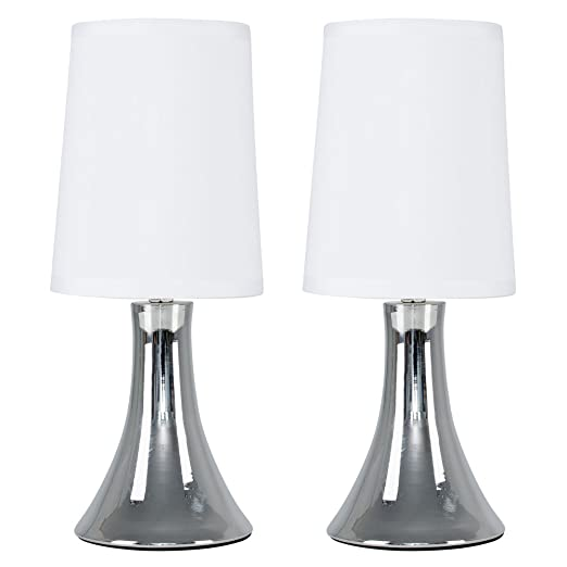 Pair of modern chrome touch table lamps with white fabric shades pair of modern chrome touch table lamps with white fabric shades aloadofball Gallery