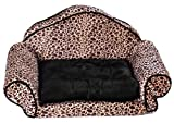 Woof Kingdom washable Pet Mat - Luxury Sofa bed for Pets - Medium and Small Pets/Dogs - Leopard print