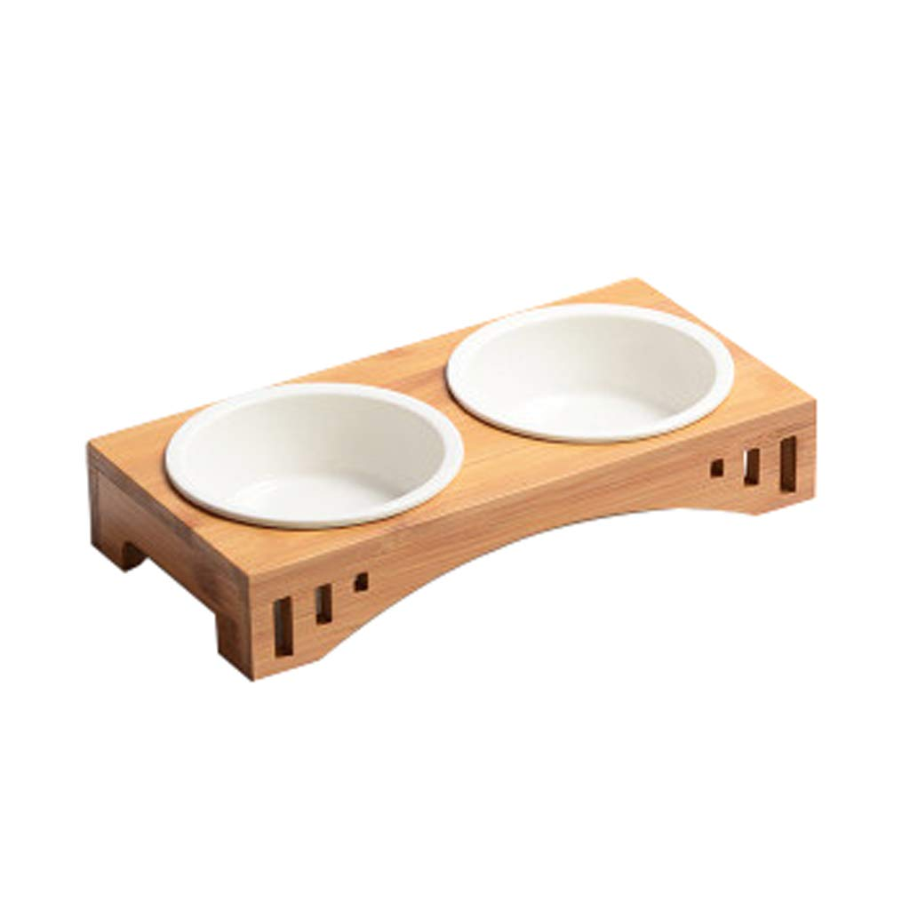 S Pet Bowl,Pet Cat Dining Table,Platform Pet Feeder, Elevated Cat Feeder Raised Cat Bowl, Wood, Ceramic Bowl (Size   S)