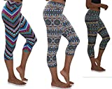 Womens 3 Pack Buttery Soft Brushed Active Stretch Yoga Cropped Capri Skinny Pant Leggings (3 Pack-Prints Collection 2, XXX-Large)