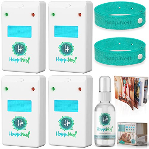 Ultrasonic Pest Repeller Control Kit【UPGRADED 2018】Expert Home Mouse & Pest Reject | 4 Top Plug in Electronic Repellers with Night Light, 2 Mosquito Bracelets, Repellent Spray & Booklet