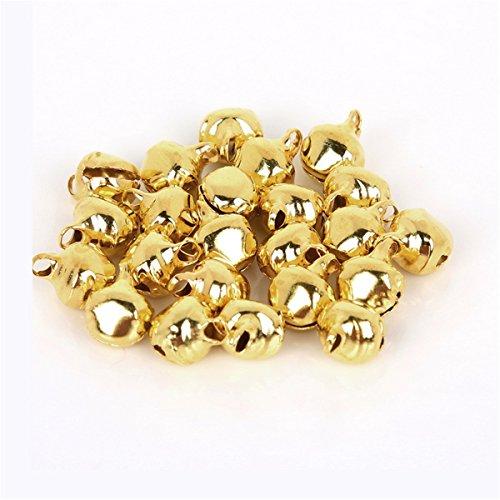 - 200Pcs Jingle Bells 8mm,Mix Jingle Christmas Bells Loose Beads Charms Jewelry Marking Christmas Decorations Balls - Tree Bells -Christmas Garland Bells,Gold