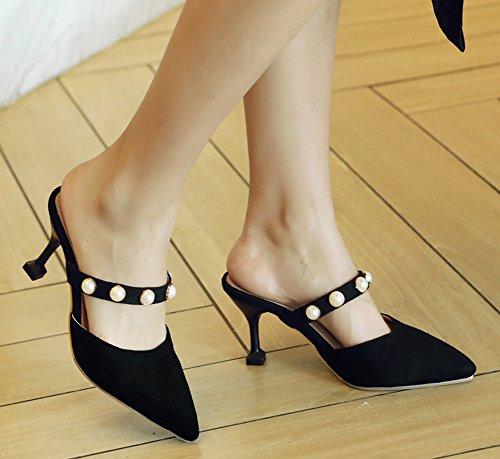 Aisun Womens Slip on Slide Sandals - Cutout Beaded Dressy Stilettos - Closed Pointy Toe Evening High Heel Black jD3YZe75