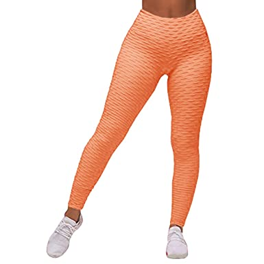 90c6588158e168 Gobought Womens High Waisted Textured Leggings Skinny Tights Yoga Sports  Pants Trouser