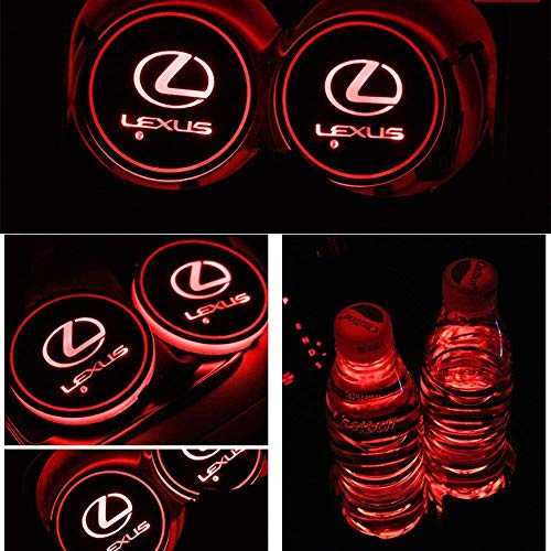 ATlife LED Car Logo Cup Holder Pad Waterproof Bottle Drinks Coaster Built-in Light 7 Colors Changing USB Charging Mat Auto LED Cup Mat Car Atmosphere Lamp 2PCS (for Lexus)