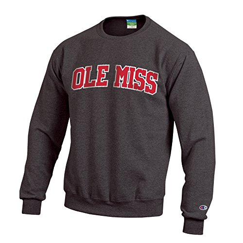 Ribbed Sweatshirt Rebels - Champion NCAA Mississippi Old Miss Rebels Men's Eco Powerblend Crew Neck Sweat Shirt, Small, Granite Heather