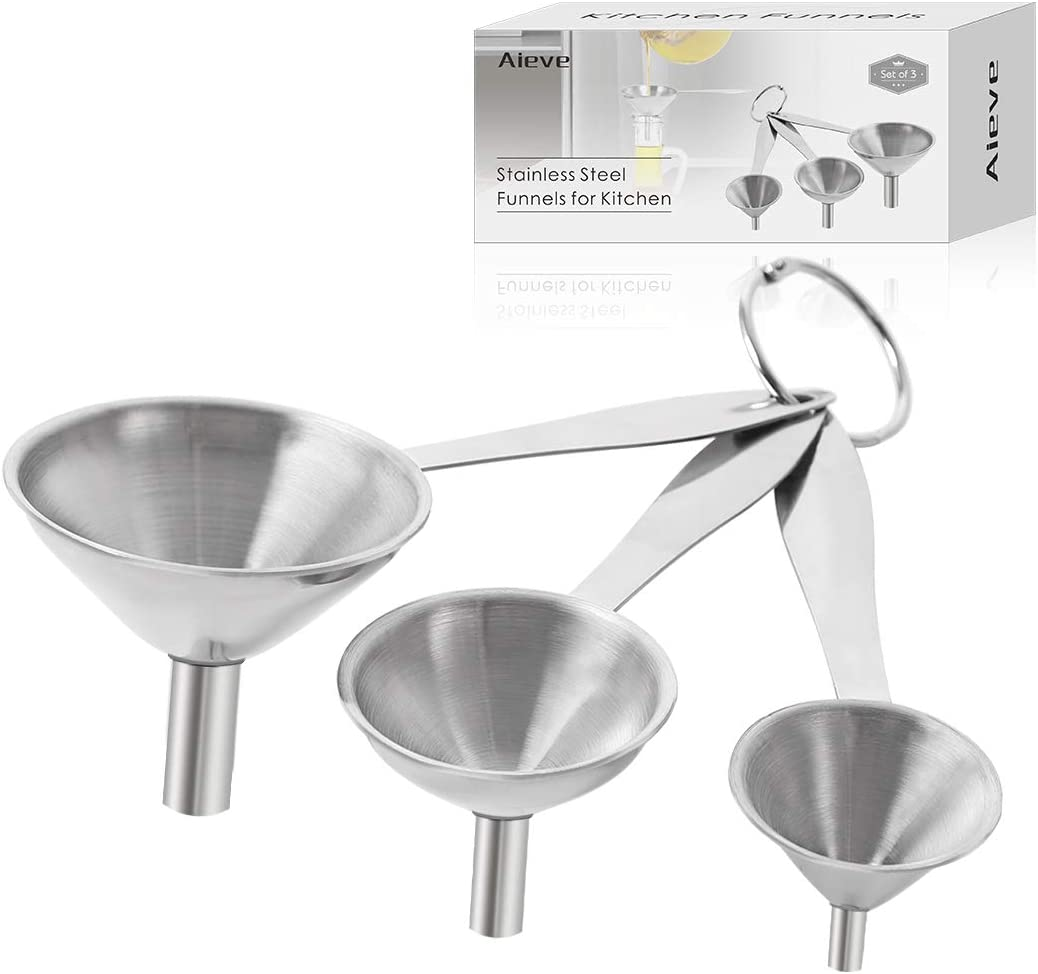 Set of 3 Stainless Steel Funnels for Kitchen,Small Strainer Funnel Kitchen Funnels with Metal Long Handle Tools for Transferring Fluid,Liquid,Oil,Powder,Silver