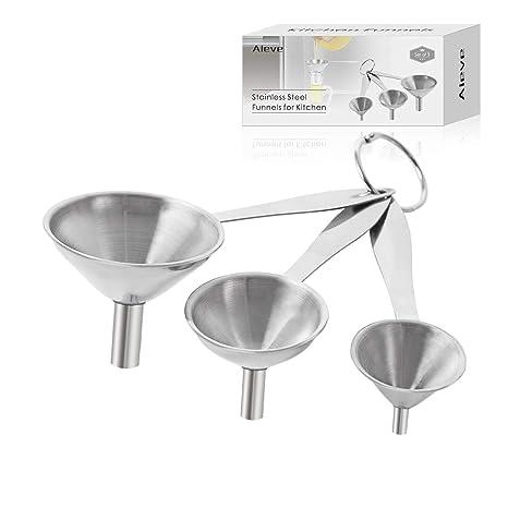 Amazon.com: Juego de 3 embudos de cocina de acero inoxidable ...