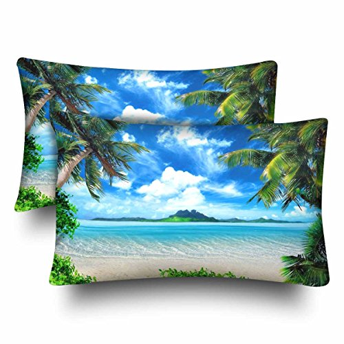 (InterestPrint Tropical Coast Beach Palm Tree Sea Island Green Sky Cloud Pillow Cases Pillowcase Standard Size 20x30 Set of 2, Rectangle Pillow Covers Protector for Home Couch Sofa Bedding Decorative)