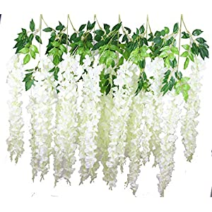 Lannu 12 Pack 3.6 FT Artificial Fake Hanging Wisteria Vine Ratta Silk Flowers String for Home Wedding Party Decor 4