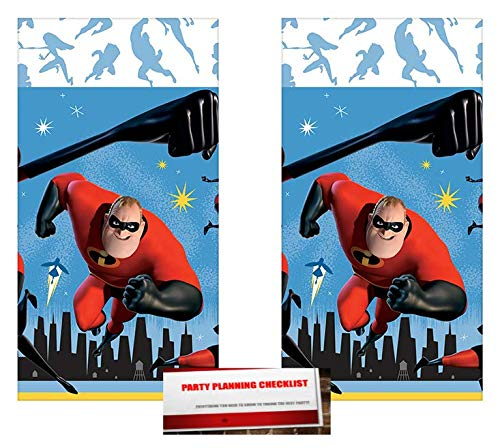 2 Pack - Disney Incredibles 2 Party Plastic Table Cover 54 x 96 inches (Plus Party Planning Checklist by Mikes Super Store) by Disney Incredibles 2