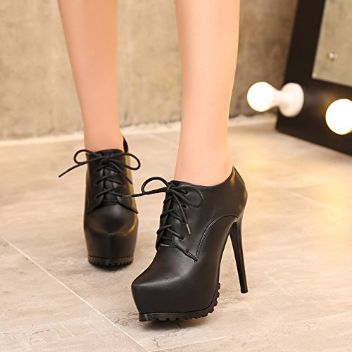 KHSKX-European Women'S Shoes New Pointed Single Shoes Lace Up High Heels Fashionable Thin Waterproof Table Thirty-five a193M