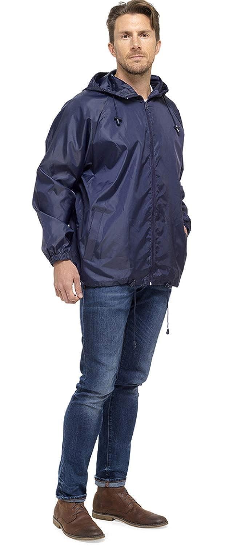Octave Mens Lightweight Pack Away Rain Mac Showerproof Hooded Full Zip Jacket