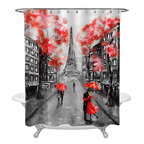 MitoVilla Eiffel Tower Couple Red Black French Cityscape Shower Curtain Set with Hooks, No Liner Needed, Paris Landmark Bathroom Curtain for Vintage Home Decor, 72