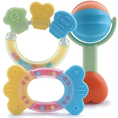 Organic Rattle Toy (Eco-Friendly Organic & BPA FREE Baby Teething Toys and Rattle Gift Set! Perfect for Infants and Toddlers! Two Natural Teethers & a Rattle in Frustration-Free, Recyclable Packaging!)