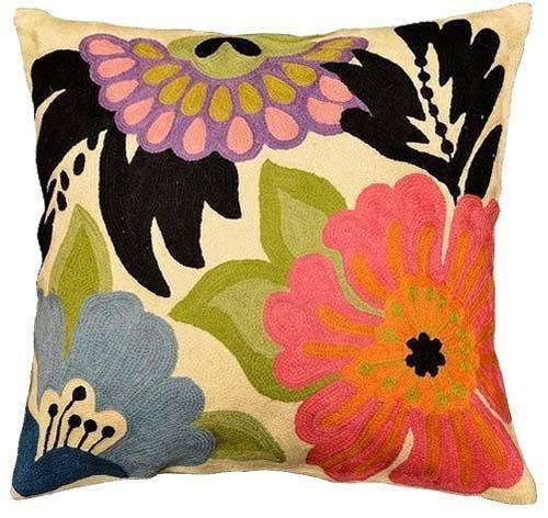 Kashmir Designs Modern Floral Design Pillow Cover I Hand Embroidered 18