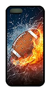 Football In Water And Fire Theme Case for IPhone 5 5S Rubber Material Black