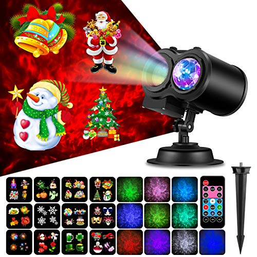 NEXGADGET Christmas Projector Light,Holiday Decoration Light for Party, Birthday.2 in 1 Water Wave Light Projector with 12 Slides,Remote Control Waterproof Outdoor/Indoor