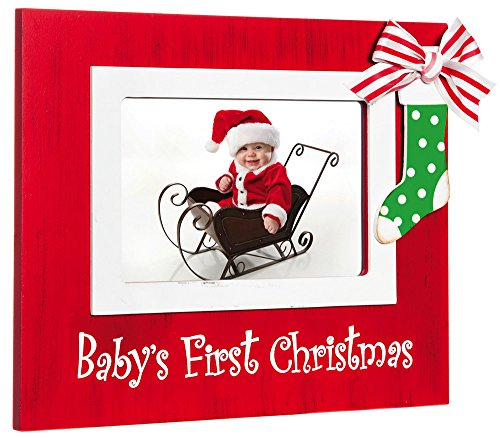 Amazoncom Red Babys First Christmas Stocking 4x6 Wood Photo