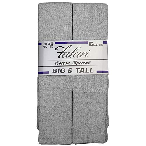 (6 Pairs Men's Athletic Tube Socks Over the Calf - Big & Tall (10-15 Big & Tall, 6-pairs Grey))