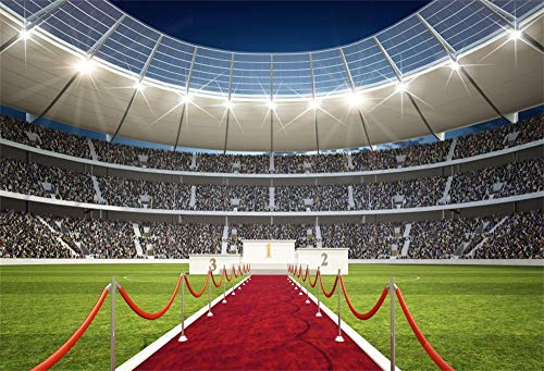 AOFOTO 12x8ft Soccer Stadium Backdrop Sports Event Red Carpet Winner Stairs Arena Turf Grassland Field Photography Background Floodlight Spectator Seats Evening Sports Club Scene Photo Studio Prop