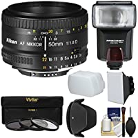 Nikon 50mm f/1.8D AF Nikkor Lens with 3 Filters + Hood + Flash & 2 Diffusers + Kit for D7100, D7200, D610, D750, D810 Cameras