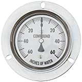 "PIC Gauge LP4-254-60/0/60 LP Series Center Back Mount Dry Non-Fillable Low Pressure Gauge with Chrome Case, Brass Internals, Panel Mount Front Flange, 2-1/2"" Dial Size, 1/4"" Male NPT Connection Size, 60/0/60"" wc psi Range"