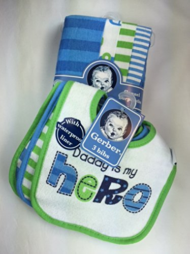 Gerber Flannel Burp Cloths (Baby Boy Gift Bundle - 2 Items: Gerber Terry Cloth Bibs with Waterproof Liner (3pk) and Gerber Flannel Burp Cloths (4pk))