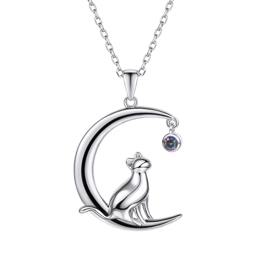 Sterling Silver Cat on the Moon Pendant with Round Topaz Crystal Necklace for Cat Lovers SILVERCUTE JEWELRY SCP6006B