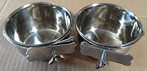 Cage Parrot 4 (Mcage Lot of 2 Bird Parrot Cage Stainless Steel Seed Water Feeder Cups - 4