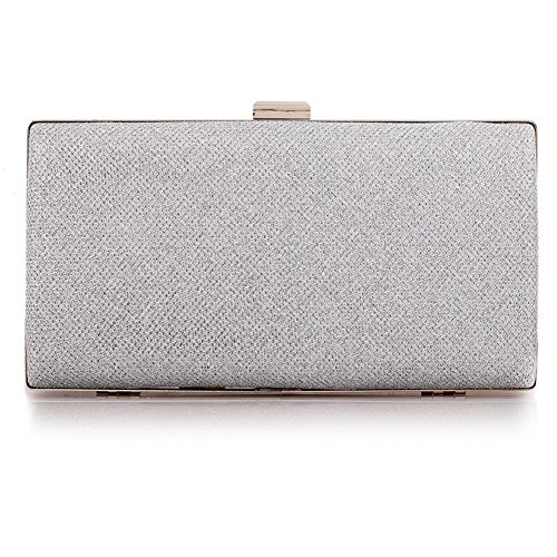 - Womens Vintage Envelope Clutch Silver Evening Handbag For Cocktail/Wedding/Party (Silver)
