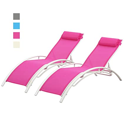 Phenomenal Doit Outdoor Patio Lounge Chairs Set Of 2 Patio Reclining Adjustable Chaise Lounge Lounge Chairs For Pool Area Foldable Lounge Chairs Outdoor Pink Spiritservingveterans Wood Chair Design Ideas Spiritservingveteransorg