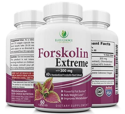 Forskolin Extreme 40% Standardized with 300mg - Best Fat Burner Weight Loss Supplement & Metabolism Booster High Quality 100% Natural & Pure