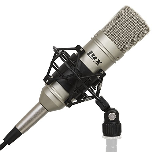 LyxPro LDC-10 Cardioid Condenser Studio Microphone, Shockmount, 10 Ft XLR Cable & Foam Wind Screen for Professional Home Recording