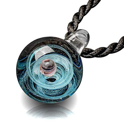 (Jovivi Natural Lampwork Glass Pendant Necklace,Unique Special Universe Galaxy Space Cosmos Design Series Nebula Ribbon 1-Planet)