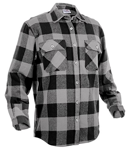 Rothco Extra Heavyweight Buffalo Flannel Shirts, Grey Plaid, Large - Heavyweight Flannel