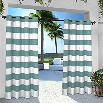 Exclusive Home Curtains Indoor/Outdoor Stripe Cabana Grommet Top Curtain Panel Pair, 54x96, Teal, 2 Piece