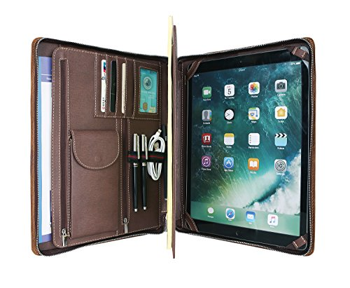 Hifriend Handmade Padfolio, Crazy-Horse Leather Portfolio with Zipper, Professional Business Case for iPad Pro/Surface Pro, Engraved Custom (Microsoft Surface Pro 3/4) by Hifriend