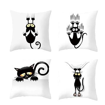 VRTUR- 4 Fundas de Almohada cuadradas para Gatos, decoración del hogar, sofá,