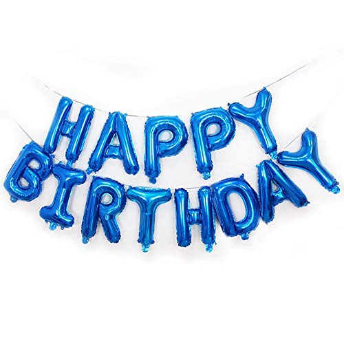 Qivange Happy Birthday Balloons 16 Inch Hanging Alphabet Foil Mylar Happy Birthday Banner Blue Balloon for Party Decoration, Blue