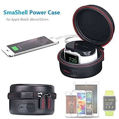 Smatree SmaShell A100 Power-Case PU Leather Multi-function Compact Case with Built-in 3000mAH Power Bank for Apple Watch 38mm/42mm(Original Magnetic Charging Cable NOT Included)