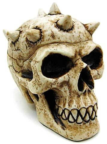 Spike Head Container Collectible Figurine - Skull Head Figurine