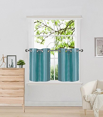 Elegant Home 2 Panels Tiers / Valance Small Window Treatment Curtain Faux Silk Insulated Blackou ...