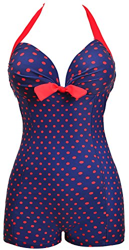 Danify 50s Elegant Inspired Retro Vintage One Piece Pin up Monokinis Swimsuit, Navy Blue(Fast Ship), US 10-12/China XXL
