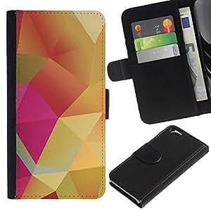 UberTech / Apple Iphone 6 4.7 / Polygon Pastel Pink Yellow Gold / Cuero PU Delgado caso Billetera cubierta Shell Armor Funda Case Cover Wallet Credit Card