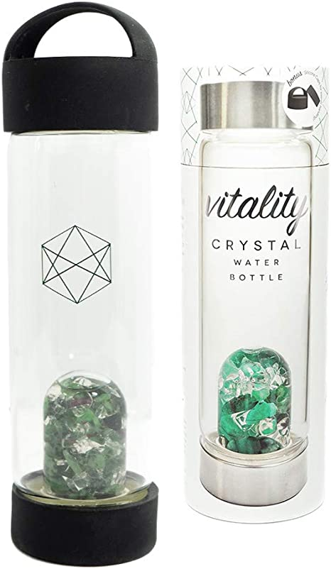 quartz water bottle With 2 Sets Of Crystals