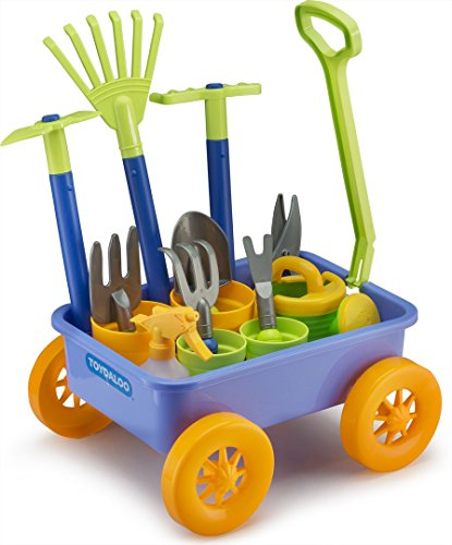 Educational Assorted Garden Wagon and Tools Play Set 15 Pc - Gardening Tools for Kids with Toy Wagon | 8 Gardening Tools | 4 Pots | Water Pail | Spray ()