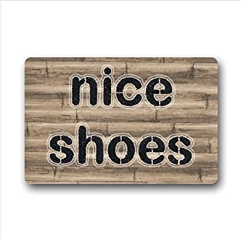 Personalized Bamboo Wood Texture Pattern Non Woven Fabric Top Custom Doormat ,