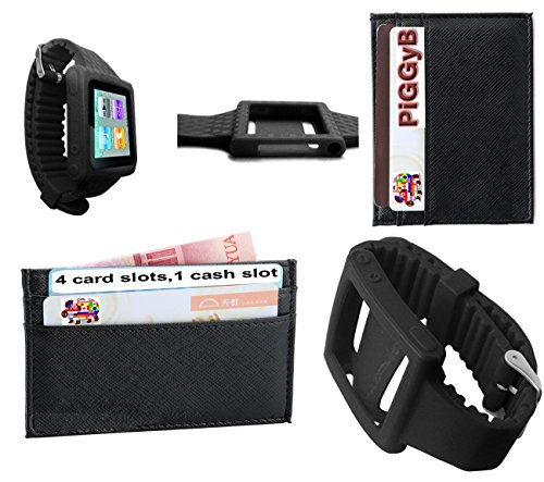 PiGGyB Hold It! Apple iPod Nano 6th Groovy Watch Band Leather Credit Card Holder Set (Black Black)
